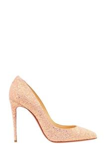 Розовые туфли с блестками Pigalle Folles 100 Christian Louboutin