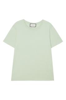 Светло-зеленая футболка из хлопка Gucci