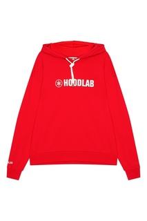 Красное худи из хлопка с логотипом Hoodlab