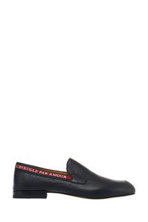Черные кожаные лоферы с яркой полосой Gucci