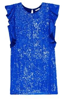Синее платье с оборками на рукавах P.A.R.O.S.H.