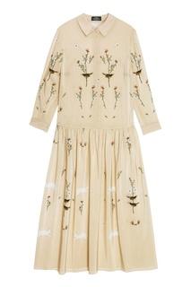Платье из бежевого шелка с принтом Alena Akhmadullina