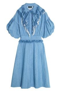 Синее джинсовое платье с драпировкой Alena Akhmadullina