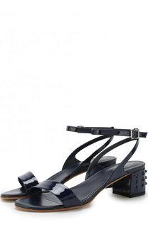 Кожаные босоножки на устойчивом каблуке Tod's