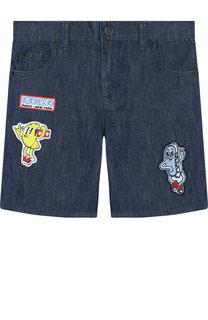 Джинсовые шорты с нашивками Kenzo