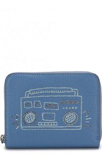 Кожаный кошелек на молнии с принтом Coach