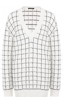 Удлиненный пуловер из вискозы в клетку Balmain