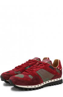 Комбинированные кроссовки Valentino Garavani Studded на шнуровке Valentino