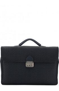 Кожаный портфель с клапаном и плечевым ремнем Ermenegildo Zegna
