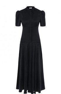 Однотонное шелковое платье-миди Hillier Bartley