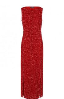 Шелковое платье-миди с вышивкой бисером Emporio Armani