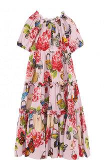Хлопковое платье свободного кроя с принтом Dolce & Gabbana