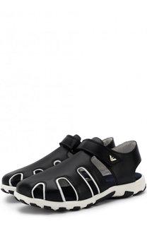 Кожаные сандалии с застежками велькро Armani Junior