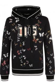 Худи с принтом из смеси хлопка и шелка Dolce & Gabbana
