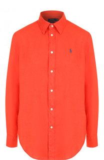 Однотонная льняная блуза свободного кроя Polo Ralph Lauren