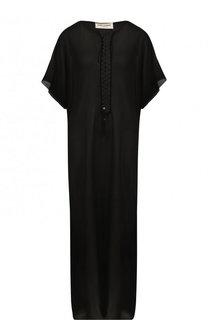 Шелковое платье-макси с разрезами Saint Laurent