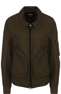Куртка с отложным воротником из смеси вискозы и льна Tom Ford