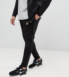 Черные облегающие джоггеры с золотистым логотипом SikSilk PLUS эксклюзивно для ASOS - Черный