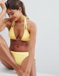 Желтый бикини-топ кроше с треугольными чашечками Dorina - Желтый