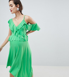 Асимметричное платье миди с оборками ASOS DESIGN Maternity - Зеленый