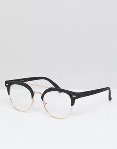 Очки в стиле ретро с прозрачными стеклами (золотистый/черный матовый) ASOS - Золотой