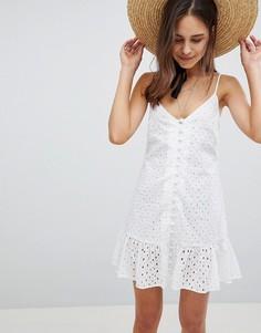 Легкое платье мини на пуговицах с оборкой на подоле ASOS - Белый