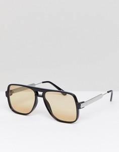 Черные квадратные солнцезащитные очки с коричневыми стеклами Spitfire - Черный