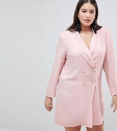 Платье с пуговицами под жемчуг ASOS DESIGN Curve - Розовый