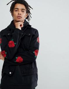Черная джинсовая куртка с розами Criminal Damage - Черный