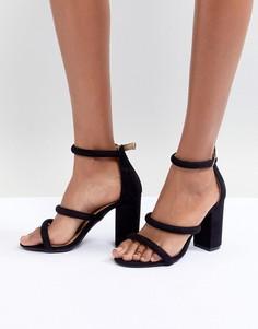 Босоножки на блочном каблуке с тремя ремешками Boohoo - Черный