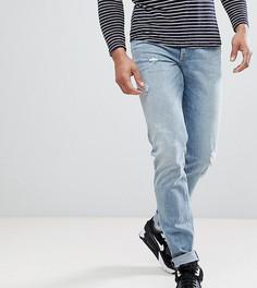 Облегающие эластичные джинсы с потертостями ASOS DESIGN Tall - Синий