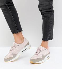 Замшевые кроссовки с перфорацией Nike Air Max 1 - Бежевый