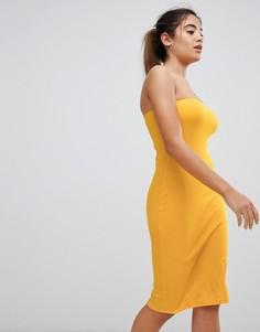 Облегающее платье-бандо миди в рубчик ASOS DESIGN - Оранжевый