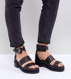 Кожаные сандалии-гладиаторы для широкой стопы ASOS DESIGN - Черный