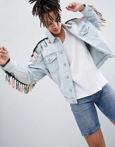 Свободная джинсовая куртка с пайетками и кисточками ASOS DESIGN - Синий