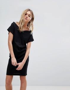 Платье с открытыми плечами и логотипом на рукаве Cheap Monday - Черный