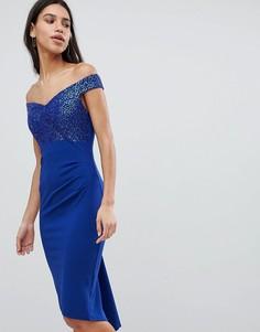 Платье миди с открытыми плечами и отделкой пайетками City Goddess - Синий