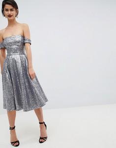 Платье миди с пайетками City Goddess - Серебряный