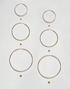 Набор сережек (кольца / серьги-гвоздики) Monki - Золотой