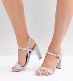 Блестящие босоножки на блочном каблуке New Look Wide Fit - Серебряный