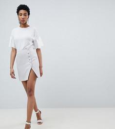 Мини-юбка с боковыми пуговицами с разрезом спереди ASOS DESIGN Tall - Серебряный