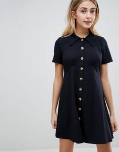 Платье-рубашка с черепаховыми пуговицами ASOS DESIGN - Черный