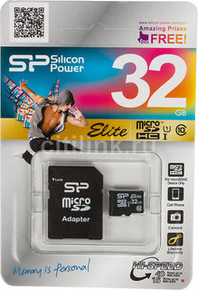 Карта памяти microSDHC UHS-I SILICON POWER 32 ГБ, 40 МБ/с, Class 10, SP032GBSTHBU1V10-SP, 1 шт., переходник SD