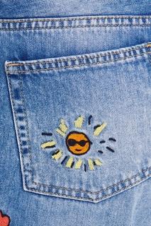 Голубые джинсы с вышивками Mira Mikati
