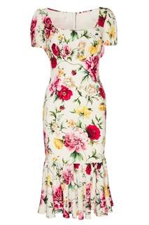Платье-миди из шелка с цветами Dolce&;Gabbana