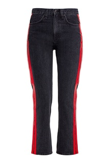 Укороченные черные джинсы с лампасами Rag&;Bone