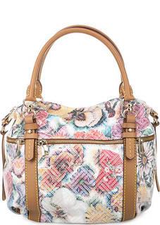Кожаная сумка с короткими ручками и цветочным принтом Fiato