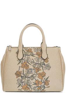 Золотистая сумка через плечо с цветочным принтом Trussardi Jeans