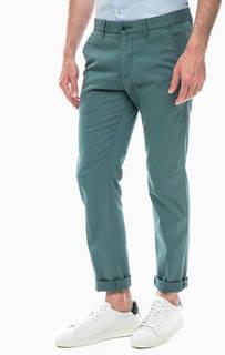 Хлопковые брюки чиносы зеленого цвета Marc Opolo