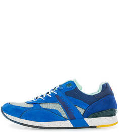 Синие замшевые кроссовки с текстильными вставками Napapijri